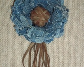 Light blue jean flower brooch with suede center and fringes