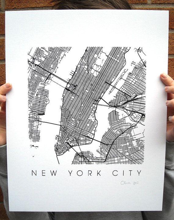 New York Map Art Screen Print  11x14 van iLikeMaps op Etsy