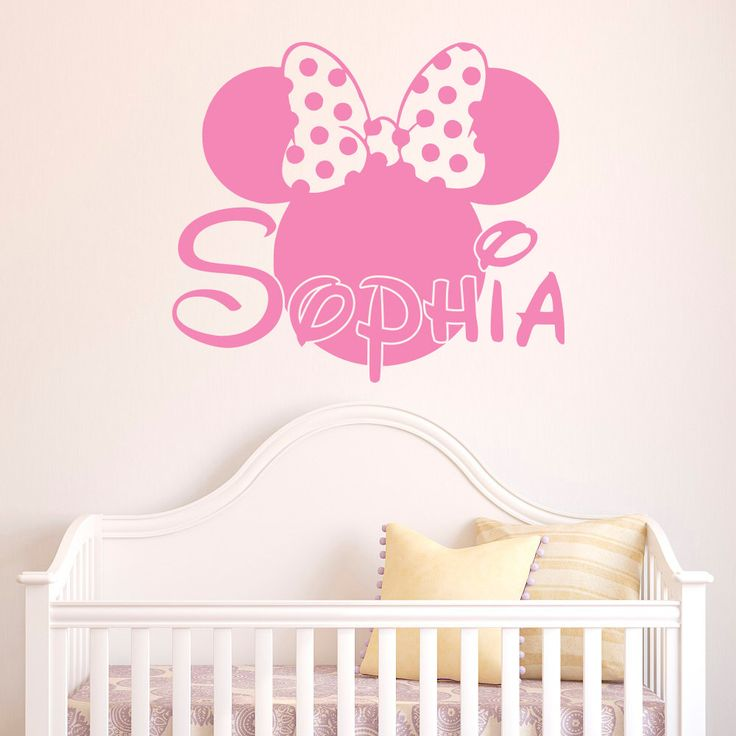 Girl Name Wall Decal  Minnie Mouse Wall Decals Personalized Name Stickers  Baby Kids Girls Room Part 26