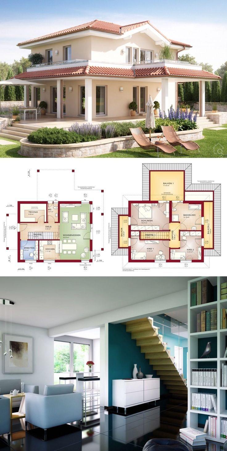 Mediterranes Haus im Toskana Landhausstil mit Walmdach Architektur & Grundriss o