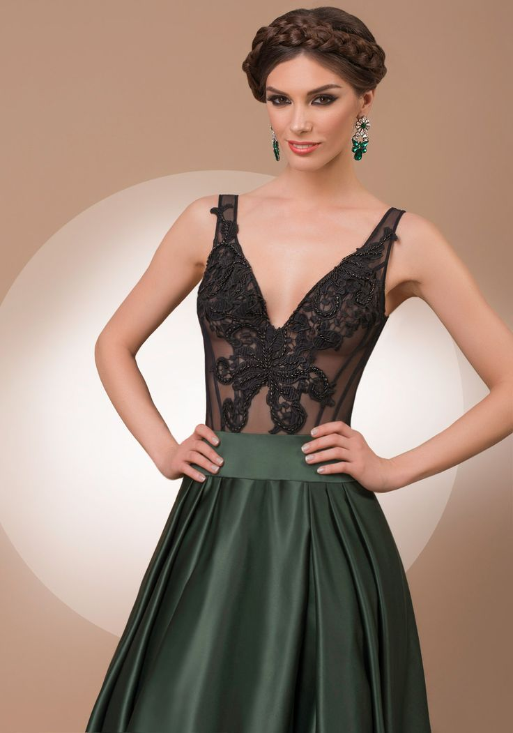 My Secret Nature, a-line black and green luxury evening dress, 2016 My Secret by Bien Savvy