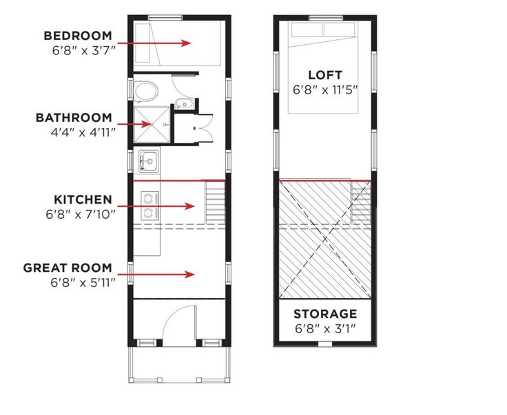 Elm tiny house ground floor bedroom pinterest tiny for Tumbleweed floor plans