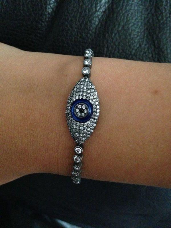 Gunmetal Kimberly evil eye bracelet