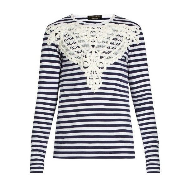 Burberry Lace-appliqué striped T-shirt (€585) ❤ liked on Polyvore featuring men's fashion, men's clothing, men's shirts, men's t-shirts, blue multi, mens black white striped shirt, burberry mens t shirt, mens black white striped t shirt, mens white t shirts and mens striped shirt