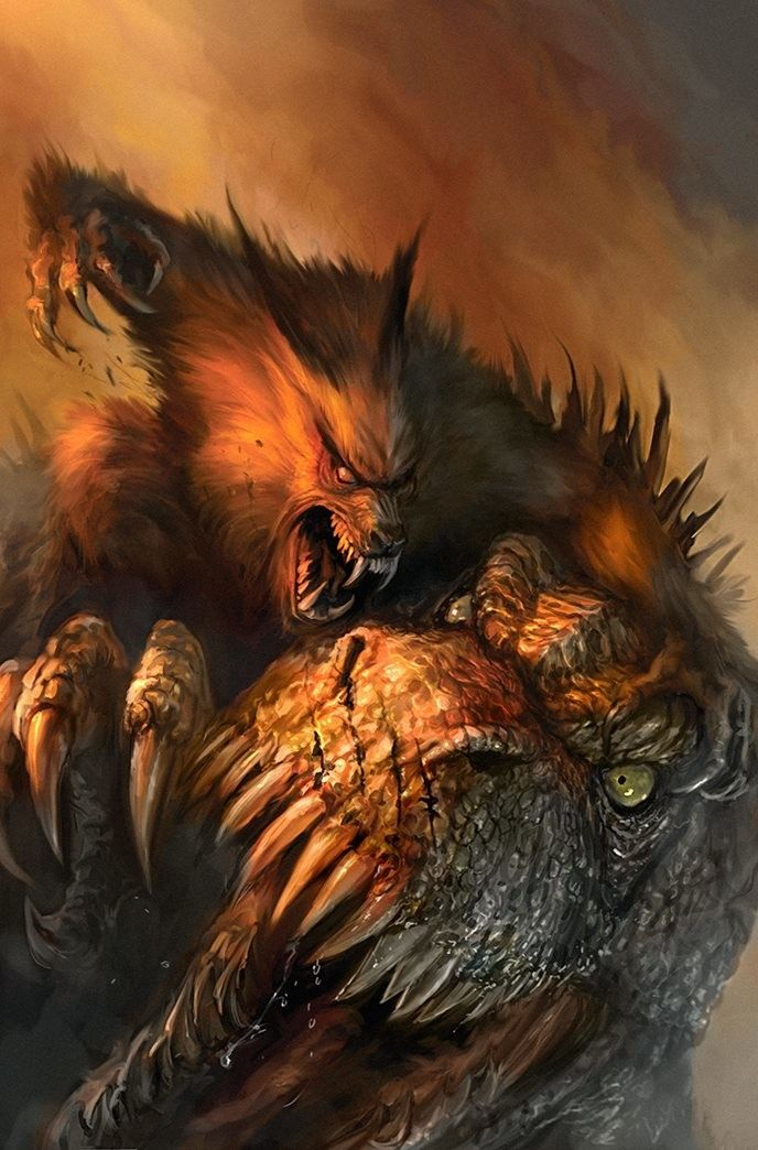 ArtStation - Werewolves vs Dinosaurs comic panel and covers-- WIP, Chris Scalf