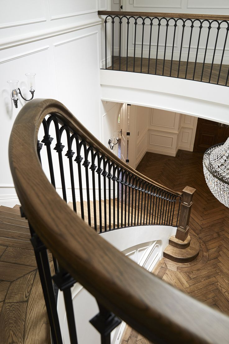 Best Staircase American Oak Continuous Rail Curved Stair 400 x 300