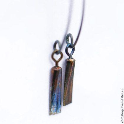 серебряные серьги с титановой подвеской - золотой,висюльки,серьги,Серьги-висюльки