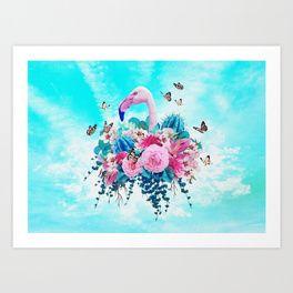 FLORAL FLAMINGO Art Print