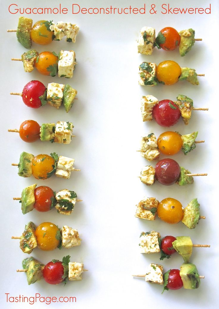 Deconstucted guacamole skewers