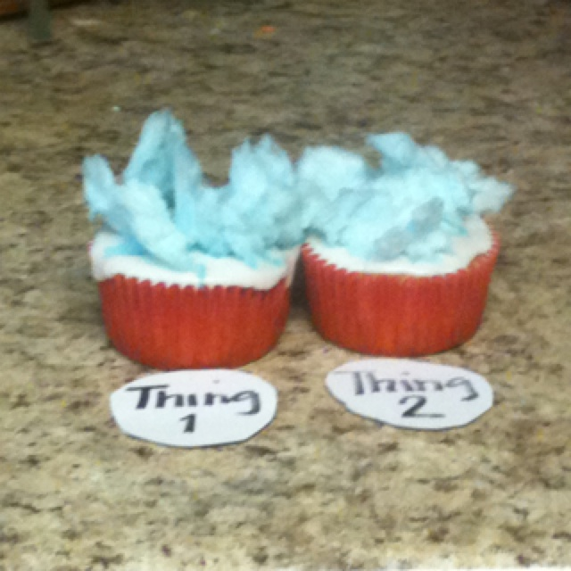 We homeschool and it's dr Seuss  b-day so we are doing dr Seuss stuff all week so today for a snack we did thing 1 and thing 2 cupcakes white cupcake bake and we put royal icing and got cotton candy and put it on and made it look like thing 1 and thing's 2 hair they were yummy :)
