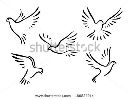 Flowers+Doves+In-Flight | Doves and pigeons set for peace concept and wedding design - stock ...