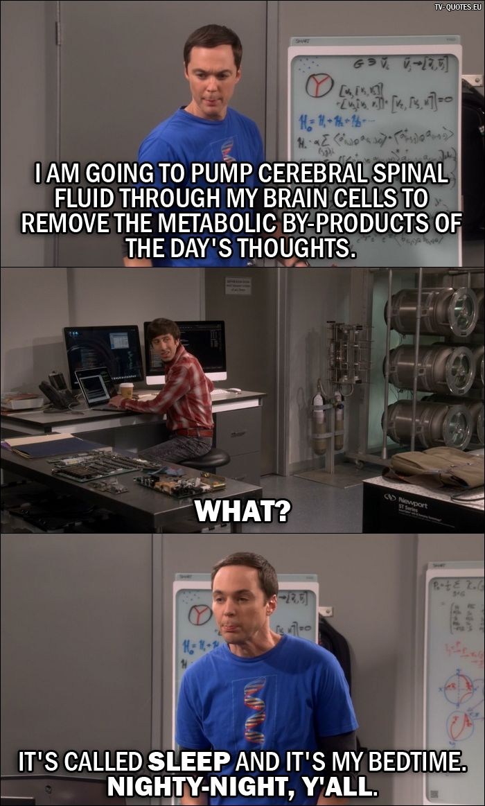 Quote from The Big Bang Theory 10x03 │  Sheldon Cooper: I am going to pump cerebral spinal fluid through my brain cells to remove the metabolic by-products of the day's thoughts. Howard Wolowitz: What? Sheldon Cooper: It's called sleep and it's my bedtime. Nighty-night, y'all.