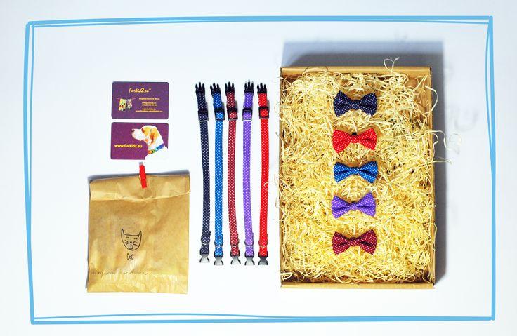 Obroże z czerwcowego boxa :-) Rożne wersje kolorystyczne #furkidz.eu #kot #obroża #kokarda #handmade #grochy
