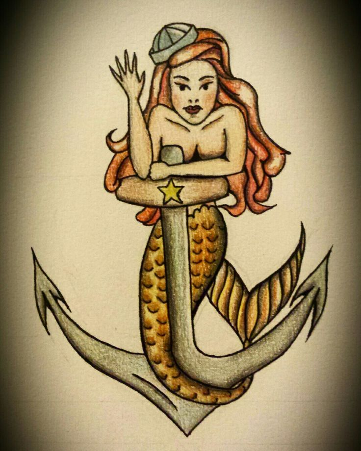 Mermaid #mermaid #drawing #anchor #sketch #sketchtattoo #pencils #drawingpencils #colours #oldschool
