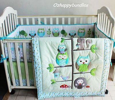 New+Baby+Girls+Boys+7+Pieces+Cotton+Nursery+Bedding+Crib+Cot+Sets--+Owl+Family