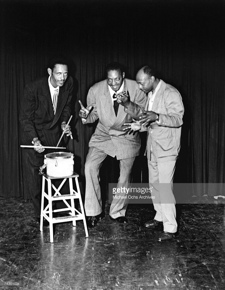 Left to Right Willie Nix, Sonny Boy Williamson (II) (born Aleck 'Rice' Miller) and Robert Lockwood Jr. (aka Robert Junior Lockwood) pose for a portrait circa 1950 in Memphis, Tennessee.