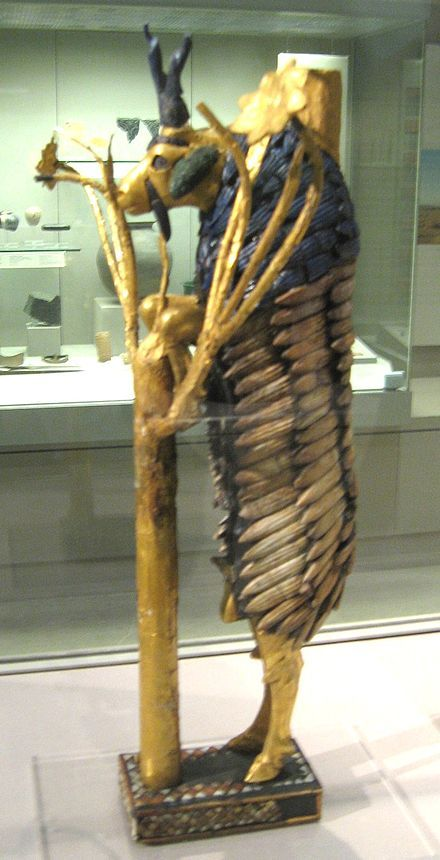 The 'Ram (goat) in a Thicket' viewed from the side found in the 'Great Death Pit', one of the graves in the Royal Cemetery at Ur. 2600-2400 BC. Click pic to read more info.