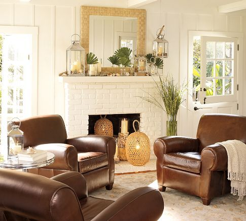 Manhattan Leather Club Chair   Pottery Barn  4 of these in a circle around a low…