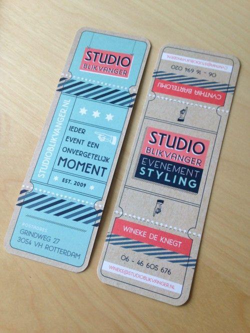 Studio Neeltje   Business Cards Ticket style, for Studio Blikvanger Event Styling. #businesscards #identitydesign #StudioNeeltje