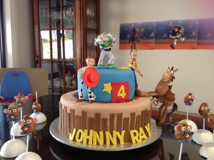 Toy Story Birthday Cake with  Mr Potato Head Cake Pops
