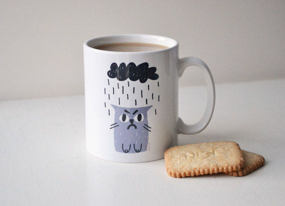 Grumpy Cat Mug in Grey & Charcoal, Sad Cat in Rain, Rainy Cat with Cloud Cup