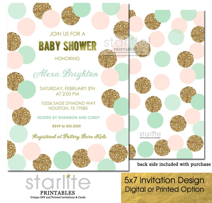 Perfect color combination with this attractive and Blush Pink Mint and Gold Baby Shower Invitation featuring blush pink, mint green and simulated gold glitter polka dots and simulated gold foil CHOICE OF DIGITAL FILE (you print option) OR PRINTED PACKAGE, $20  http://starliteprintables.indiemade.com/product/blush-pink-mint-gold-baby-shower-invitation-gold-glitter-polka-dots-girl