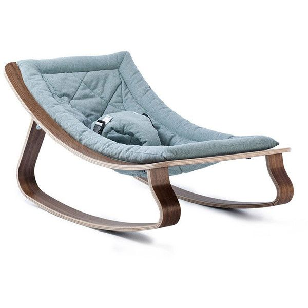 Charlie Crane Levo Baby Rocker - Walnut Aruba Blue Cushion ($235) ❤ liked on Polyvore featuring home, children's room, children's furniture, nursery furniture and blue