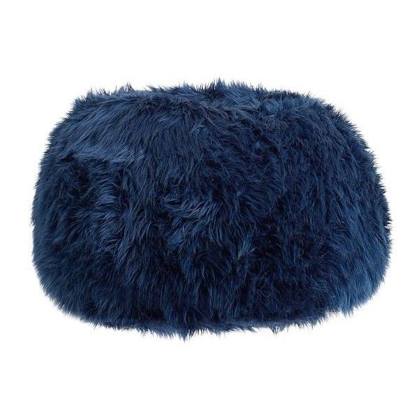 PB Teen Navy Fur-Rific Beanbag, Large Slipcover ($95) ❤ liked on Polyvore featuring home, furniture, chairs, accent chairs, slip cover chair, plush chair, fur bean bag chair, navy chair and navy blue bean bag