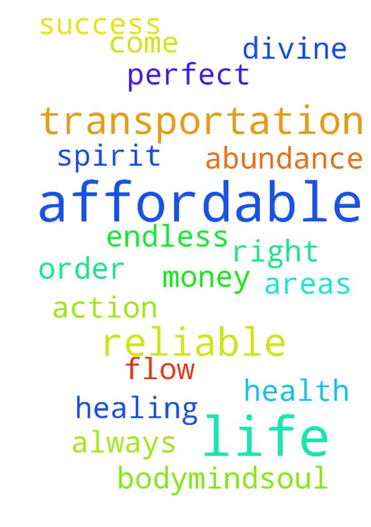 I pray for reliable, affordable transportation.  I - I pray for reliable, affordable transportation. I pray for divine order and right action in all areas of my life. I pray for perfect health and healing in body,mind,soul and spirit. I pray for a endless flow of money, abundance and success to always come into my life. Posted at: https://prayerrequest.com/t/urJ #pray #prayer #request #prayerrequest