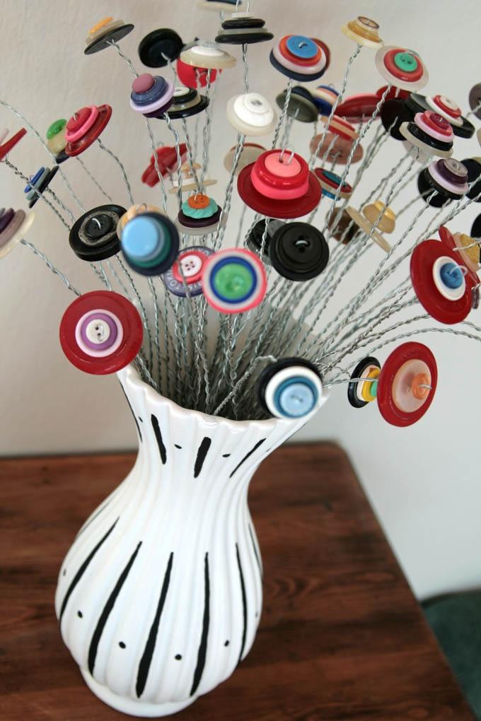 Blue Velvet Chair: Recycled Button Bouquet