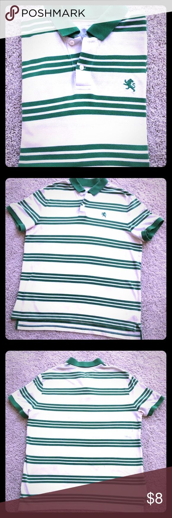 Express men polo shirts Express POLO   White with green stripes polo men's shirt.  Mens Fine Stripe Pique Polo  (Short-sleeved striped polo shirt), soft and comfortable to wear )  This is a retro look in preppy. The body and sleeves  Change the pattern, and put the stripes on the collar back  Has become a playful design.  Size XL Express Shirts Polos