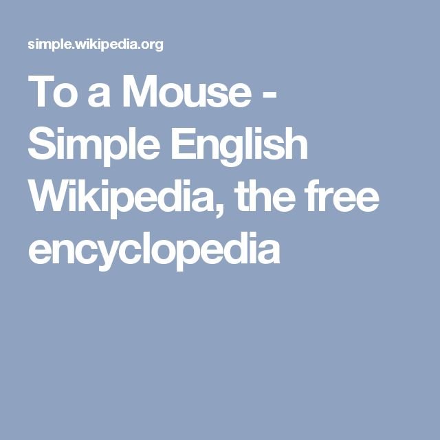 To a Mouse - Simple English Wikipedia, the free encyclopedia