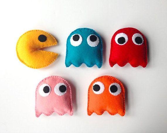 Pacman Felt Toys - Pac-Man inspired felt 5 pieces set - Felt PAC-MAN - Gamer…