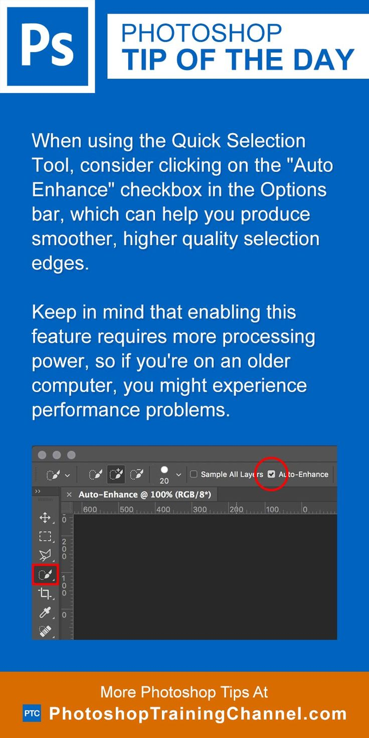 "When using the Quick Selection Tool, consider clicking on the ""Auto Enhance"" checkbox in the Options bar, which can help you produce smoother, higher quality selection edges.Keep in mind that enabling this feature requires more processing power, so if you're on an older computer, you might experience performance problems."