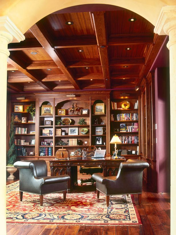 Cool built-in book case.  I think the ceiling is a little too much, however.  12 Dreamy Home Libraries : Rooms : Home & Garden Television