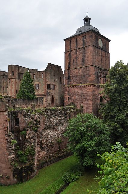 The Heidelberg Castle ruins in Heidelburg, Germany, located to the north of the Black Forest.