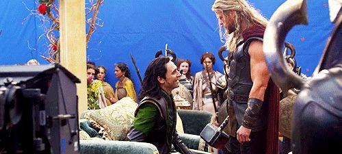 Tom Hiddleston as Loki  and Chris Hemsworth as Thor