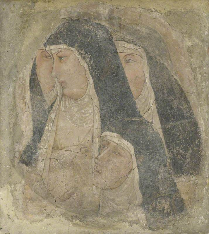 Ambrogio Lorenzetti  - Un gruppo di Clarisse    - affresco - National Gallery di Londra