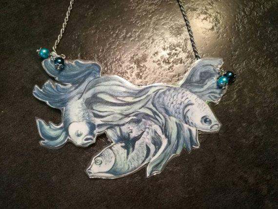 Collana pesci Ilaria Bicchi, dipinta a mano e plastificata , pezzo unico