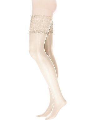 XXXX-Large, Weiß (Champagner), GLAMORY Women'sfort Hold-Up Stockings, 20 Den NEW