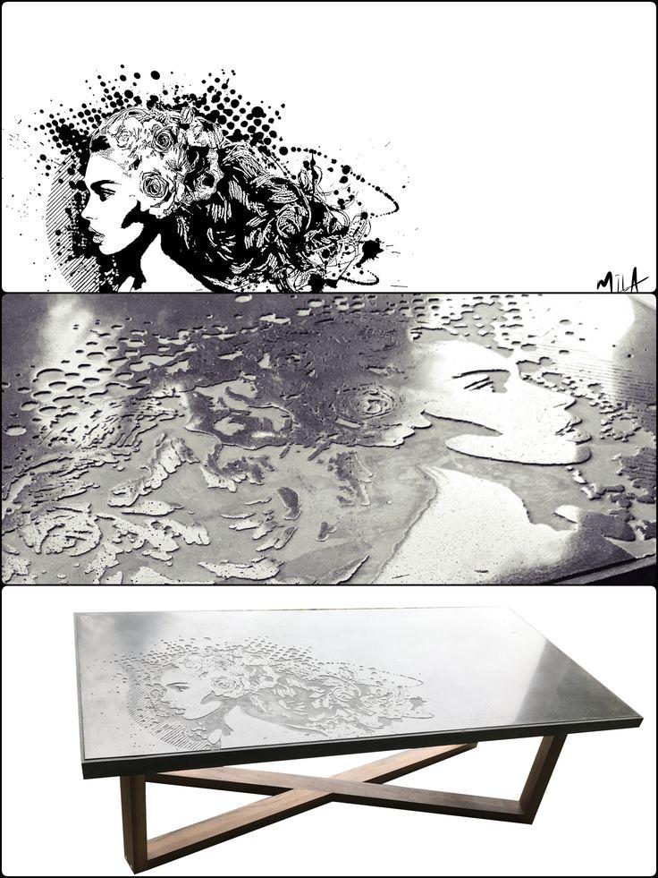 Table de salon design en béton en collaboration avec l'Artiste Mila de Québec. Concrete design coffee table #tablebasse #concretedesign #concretetable #kindofbeton