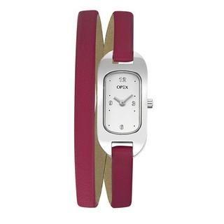 Montre Opex Ballerine. Cette montre pour Femme de la marque OPEX, est équipée d'un mouvement Quartz et d'un affichage analogique. Le bracelet, fermé par une boucle simple, est en cuir fushia sur un boîtier ovale en acier inoxydable étanche à 30 mètres, de dimensions de 19 X 10 millimètres.