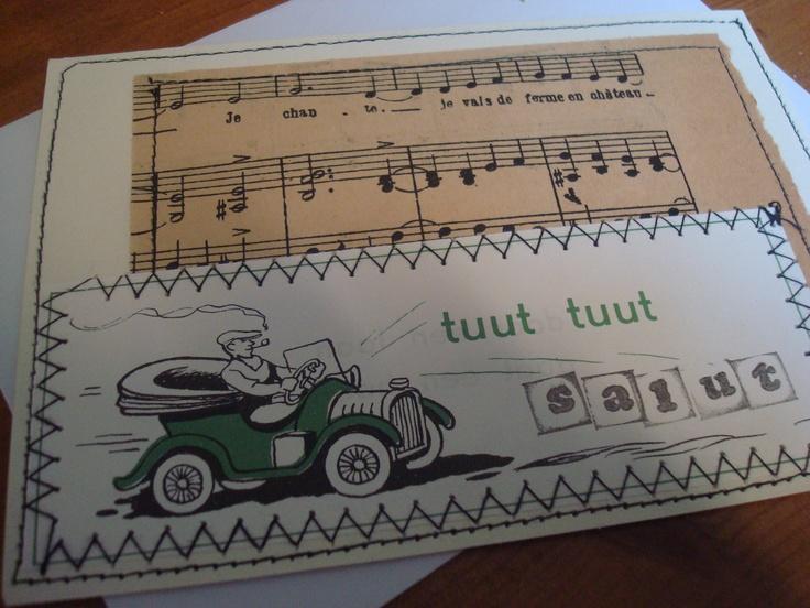 kaartje voor verhuizer. oud muziekpapier en plaatje uit vintage kinderboek.