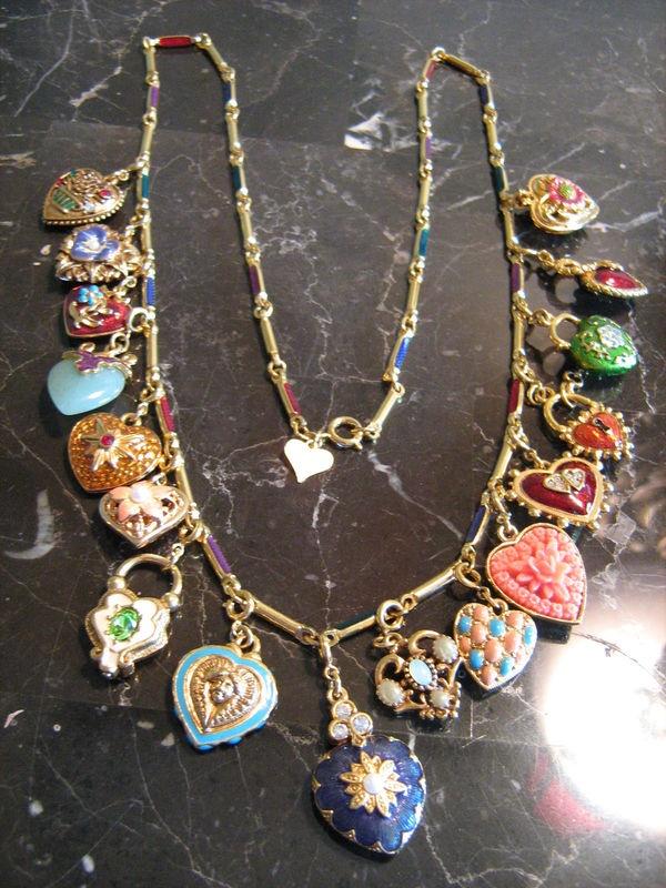 joan rivers enameled heart charm long necklace