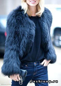 Jeans,  Dark Blue top,  Faux Fur Blue jacket. . Cute