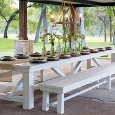 Outdoor Dining Table - I love the long bench... always enough sitting.  Only thing I'd chg is the ends of the table base for an addtl seats.