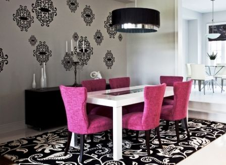 dramatic dining room decorating scheme - pink, black, white with ...