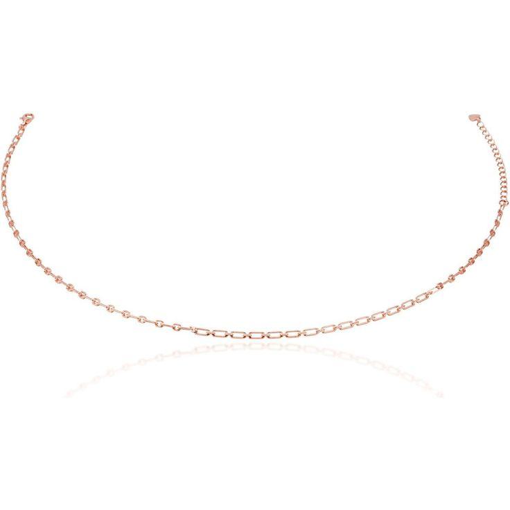 Links chain choker pink gold vermeil