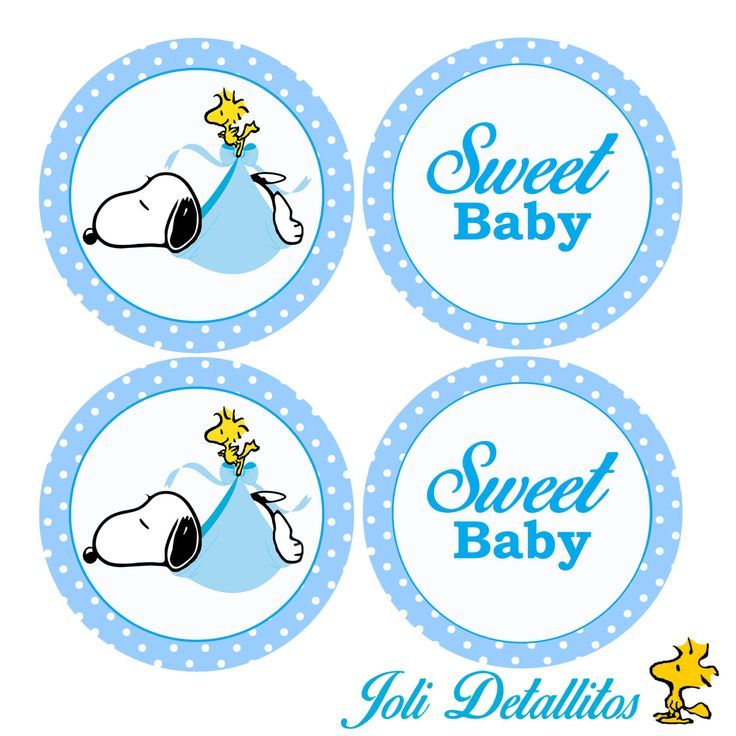 Elegant Snoopy Baby Shower Cupcake Toppers