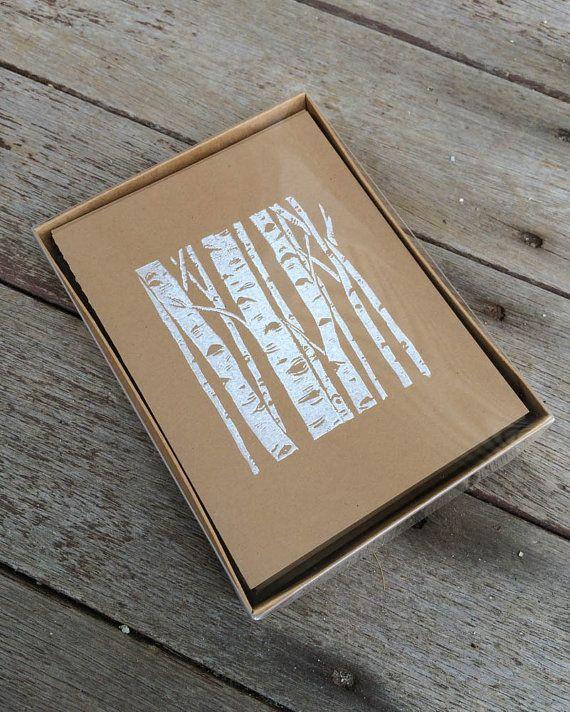 Weihnachtskarte-Set, Linolschnitt Karten, Birke Grafik, Karten-Box-Set, Block Print Karten, handgefertigte Karten, braun Kraft Karten, Blankokarten, Birken